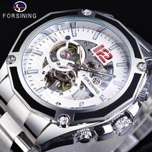 цена на Forsining Transparent Sport Racing Automatic Wrist Watches Stainless Steel Luminours Skeleton Mens Mechanical Top Brand Luxury