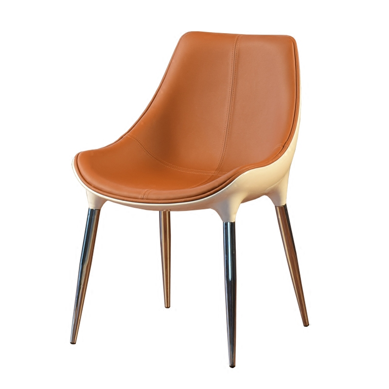 Simple Light Luxury Dining Chair Nordic Cafe Hotel Reception Negotiation  Ins Leather Stool Sales Office