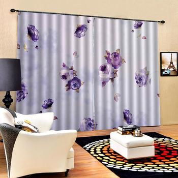 purple flower curtains D Blackout Curtains For Living room Bedding room Drapes Cotinas para sala Decoration curtains