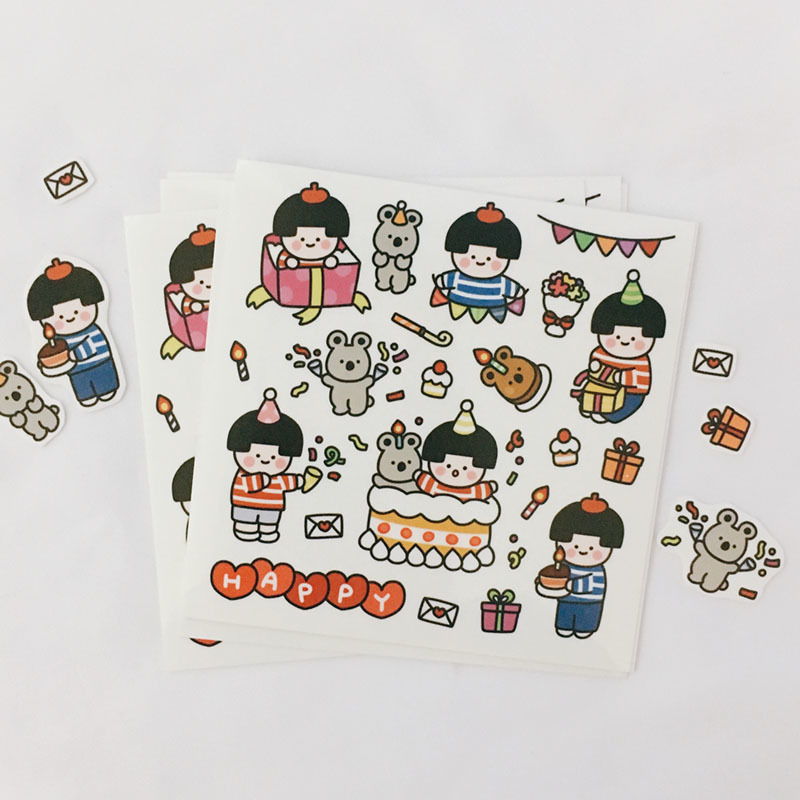 Ins Cartoon Birthday Party PVC Stickers Seal Sticker High Quality Hand Account Decoration Wall Stickers Campus DIY Stationery