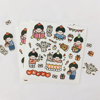 Ins Cartoon Birthday Party PVC Stickers Seal Sticker High Quality Hand Account Decoration Wall Stickers Campus DIY Stationery цена 2017