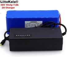 Batteria ricaricabile LiitoKala 36V 7.8Ah 10S3P 18650, biciclette modificate, caricabatterie PCB 2A protezione veicolo elettrico 36V