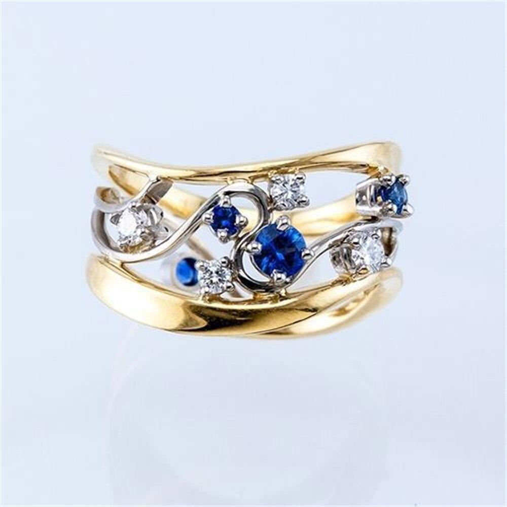 Loredana модное ювелирное изделие серии Love кольца для женщин. Изысканное Золотое романтическое благородное Голубое Прозрачное циркониевое вол...