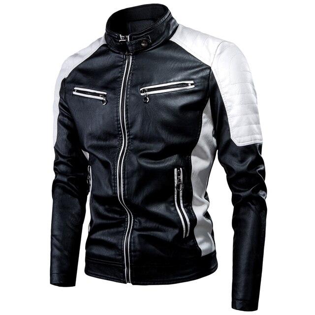 Ucrazy Men 2021 Winter Casual Motor Spliced Leather Jacket Coat Men Autumn Fashion Biker Vintage Warm Leather Jacket Coat Men 2