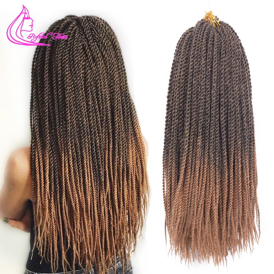 Refined Hair 14 18 22Inch 30Roots Senegalese Twist Crochet Hair Extensions Ombre Black Brown Grey Red Synthetic Hair For Braids