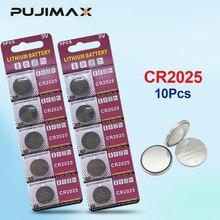 PUJIMAX Batería pilas de botón de litio 3V CR 2025 para reloj, juguete electrónico remoto, 10 Uds., DL2025, BR2025, KCR2025