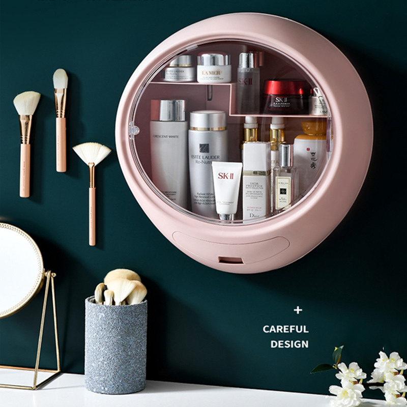 Wall-Mounted Makeup Storage Box Bathroom Dresser Skin Care Product Rack Makeup Finishing Container Cosmetic Storage Box