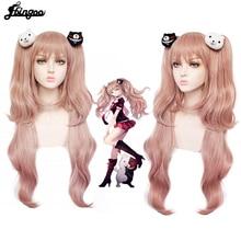 Ebingoo Danganronpa: Enoshima Junko Cosplay Wig Heat Resistant Long pink Natural Wave Wig With Ponytail Clip with Bangs+Hair Cap