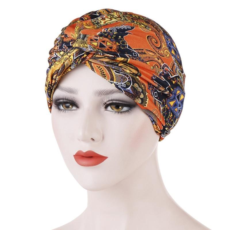 Women Printed Muslim Hats Hijab Cross Knotted Chemo Cap Beanie Scarf Turban Head Wrap Bandanas Vintage Headawear Accessories Hot