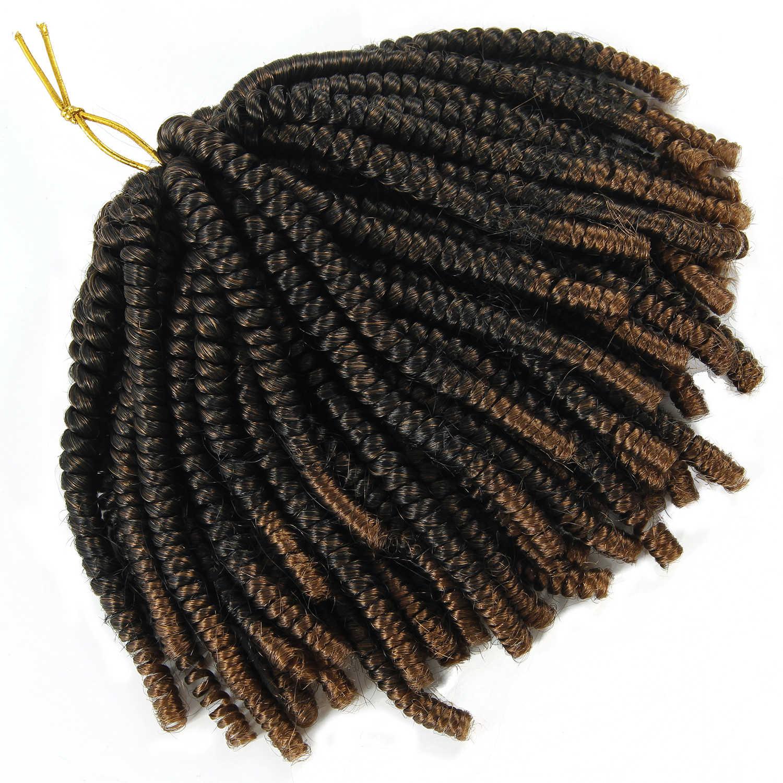 YxCheris 60 hebras Spring Twist extensiones de cabello negro 613 Ombre trenza sintética a crochet trenzado cabello Nubian Twist curvatura de rebote
