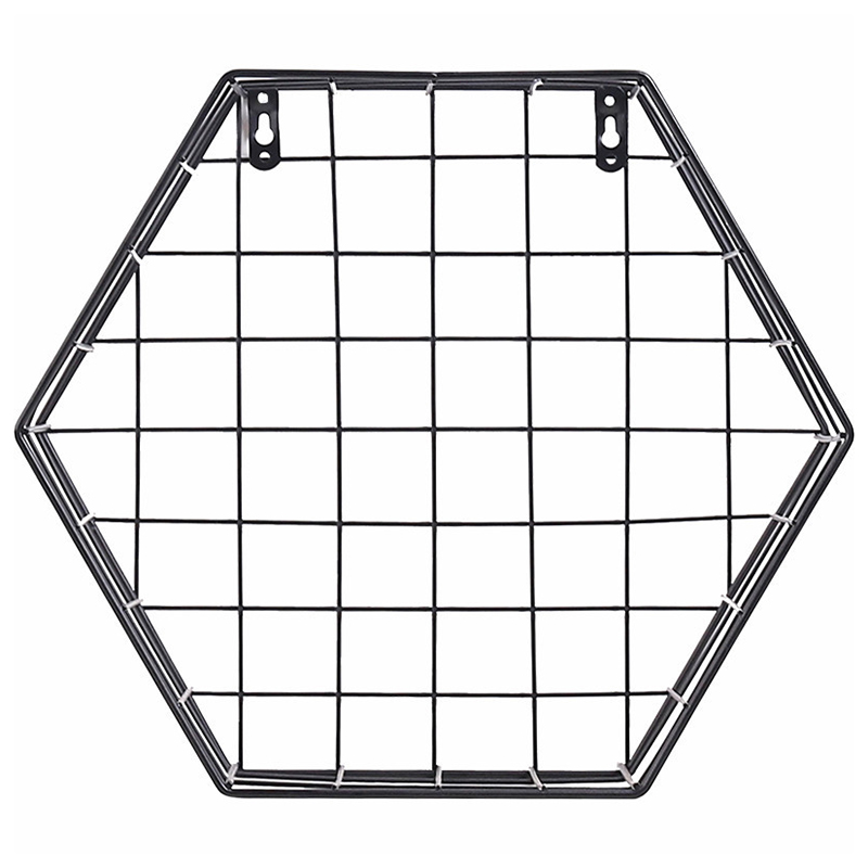 Hot Sale Iron Hexagonal Mesh Wall Storage Rack Metal Hanging Wall Display Shelf Holder Home Bedroom Decoration|Storage Shelves & Racks| |  - title=