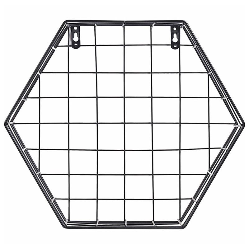 Hot Sale Iron Hexagonal Mesh Wall Storage Rack Metal Hanging Wall Display Shelf Holder Home Bedroom Decoration