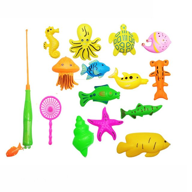 39Pcs Set Plastic Magnetic Fishing Toys Baby Bath Toy Fishing Game 1 poor 2 Poles 2 Nets 35 Magnet Fish Indoor Outdoor Fun Baby 5