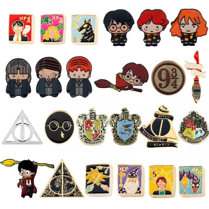 Hot HP Movie Hogwarts School Badge Pins Brooch The Cute Character Enamel Brooches Pins Deathly Hallow 9/3/4 Books Cosplay Gift