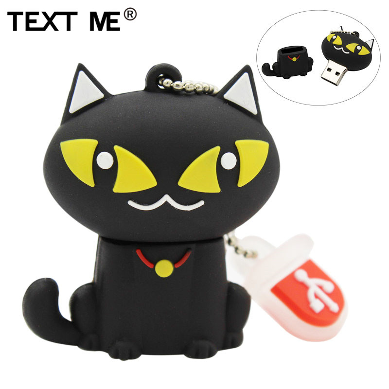 TEXT ME Cartoon Bell Cat Model Usb2.0 4GB 8GB 16GB 32GB 64GB Pen Drive USB Flash Drive Creative Gift