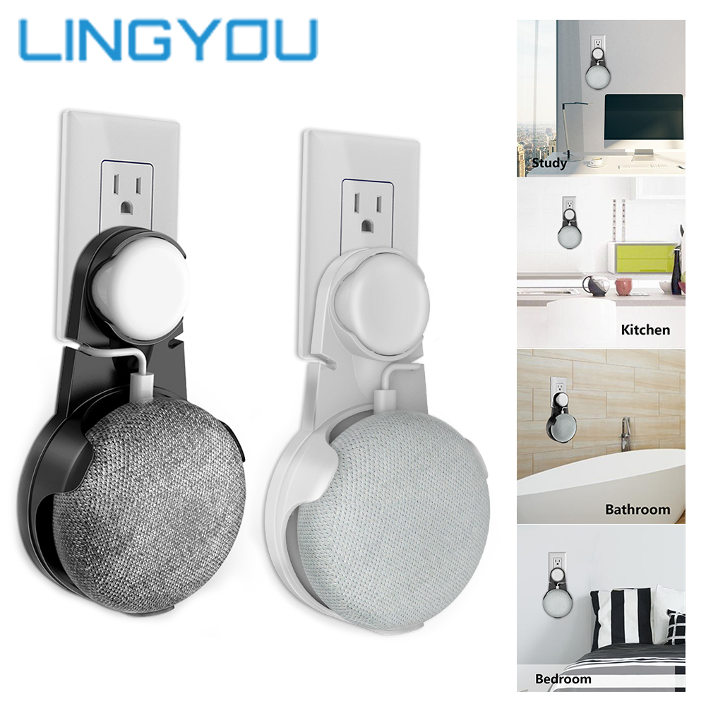 3 Colors Outlet Wall Mount Holder Cable Management Bracket For Google Home Mini Audio Voice Assistant Plug In Kitchen Bedroom