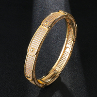 Men's Iced Out Personality Micro Paved Bling CZ Wave Bangle Bracelet For Men Women Hip Hop Rapper Jewelry