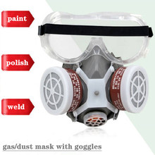 Painting Spray Gas Mask Respirator Anti Dust Mask with Protective Glasses Breathing Valves Replaceable Carbon Filter Light