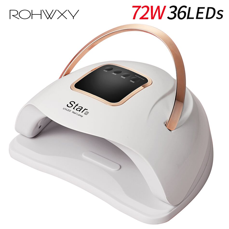 ROHWXY Star2 72W Nail Lamp Manicure LED UV Nail Dryer For Drying All Gel Polish Ice Lamp For Nail Art DIY Tools With LCD Display