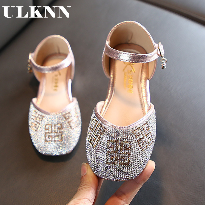 ULKNN Girls Princess Shoes 2020 Spring New Korean Fashion Sequined Sandals Soft Bottom Half Of Large Shoes Dance Shoes