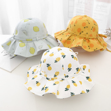 2021 Spring Summer Kids Hat Lovely Fruit Printed Baby Bucket Cap Breathable Child Beach Sunhat Beanie Newborn Photography Props
