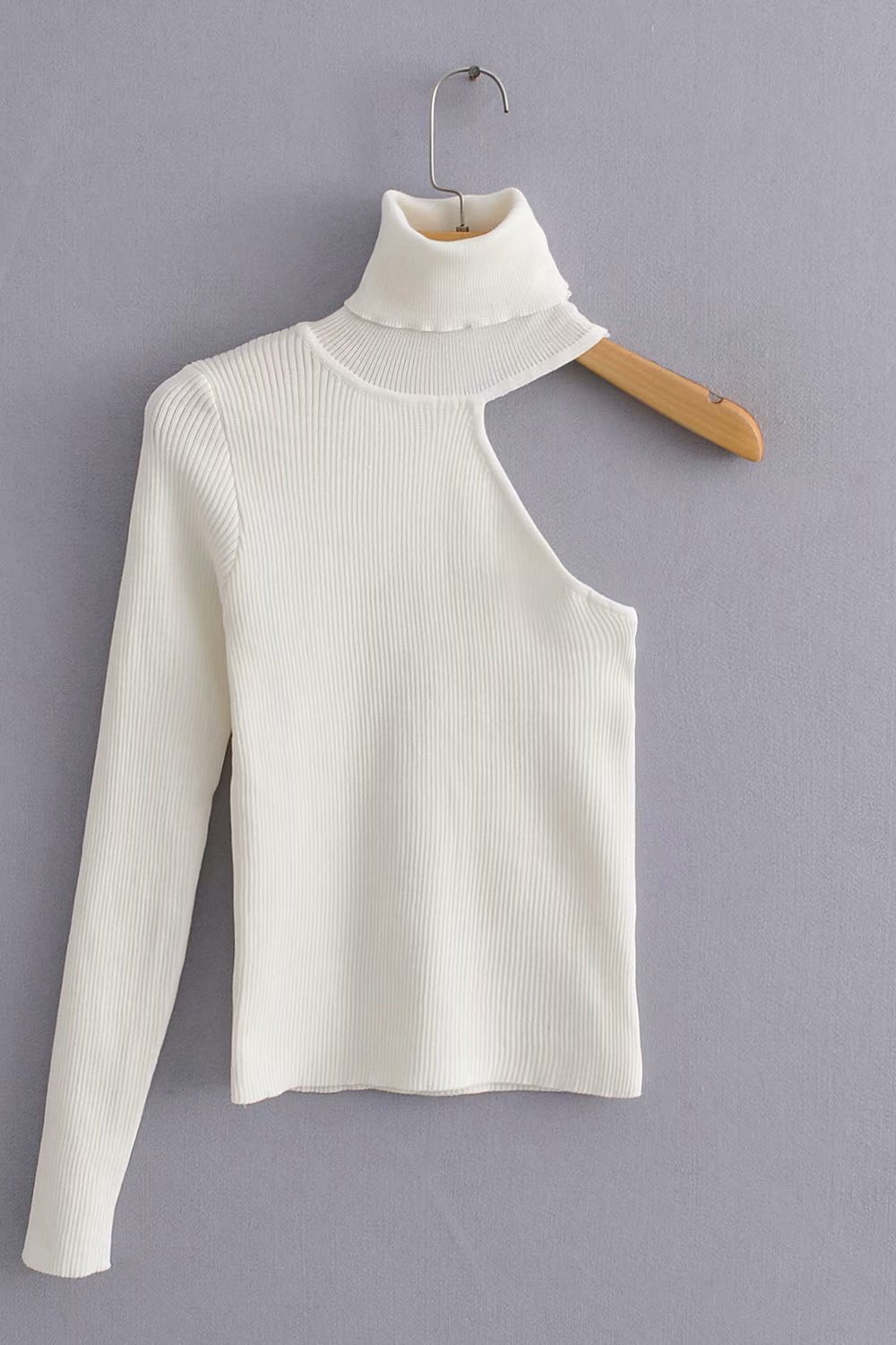 Women Stylish One Shoulder Sweater Turtleneck Stretchy Asymmetrical Design One Sleeve Female Chic Knitted Tops