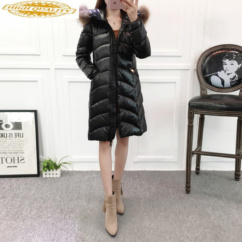 Winter Coat White Duck Down Jacket Woman Hooded Big Fur Collar Long Puffer Jacket Thick Casacas Para Mujer 1820 KJ2665
