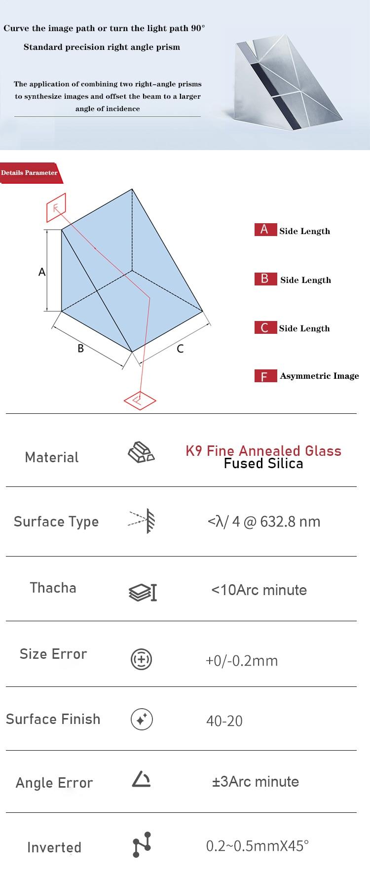 de vidro óptico grande ângulo direito