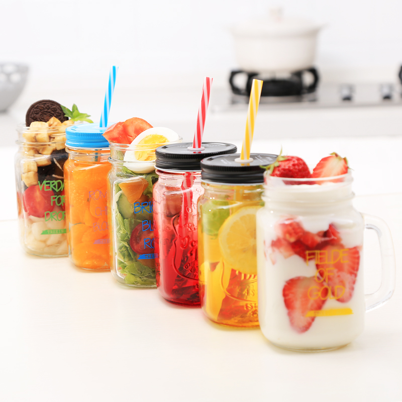 BPA Free Fashion Gradient Mason Jar Of Milk Tea Cup Classic Insulated Tumbler Kettle Metal Cover With A Straw Size Straw
