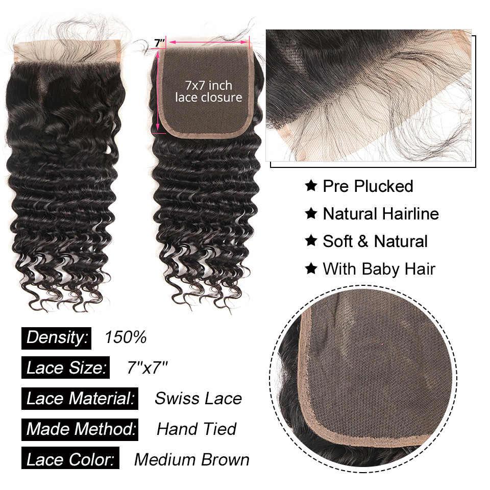 AliPearl Haar Diepe Golf Bundels Met 7x7 Sluiting Gratis Deel Brazilian Hair Weave 3 Bundels Met Sluiting Remy haarverlenging