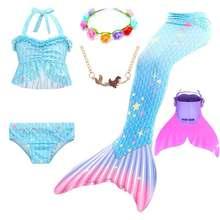 Girls Animal Cosplay Sparkle Mermaid Tail With Monofin Bikini Swimwear Set Kids Halloween Costume Swimming Mermaid Dress