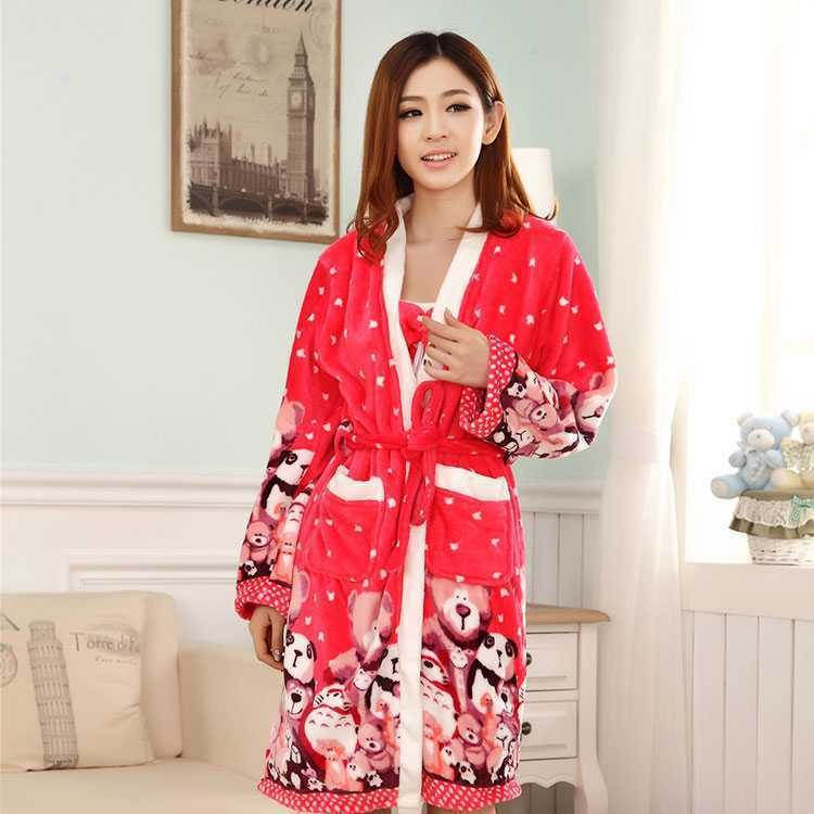 Huan Xin Ya New Products Long Sleeve Pajamas Women's Winter Korean-style Cute Flannel Ladies Home Leisure Suit