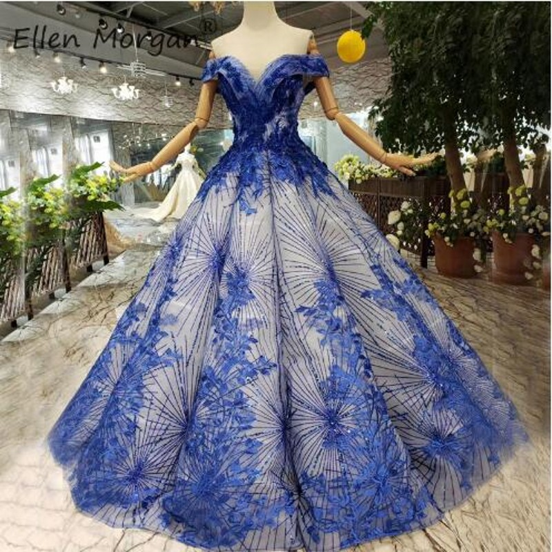 Robes de bal bleu Royal robes de bal doux 15 16 Quinceanera concours Miss 2019 élégant épaule dénudée appliques perles soirée fête