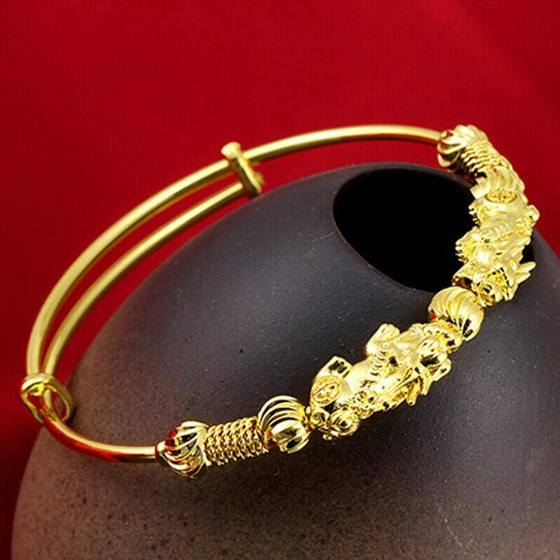Luxury Vietnam Alluvial Gold Ethnic Pixiu Lucky Bangle For Women Adjustable Gold Color Female Wedding Bracelet Ladies Jewelry
