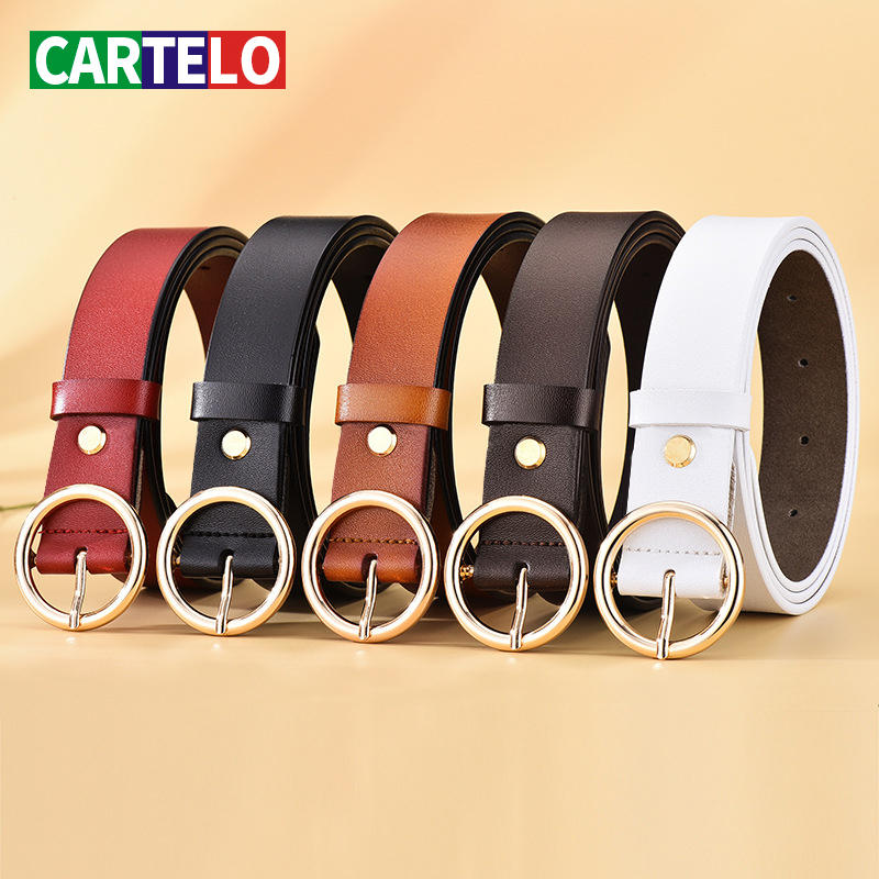 Belt Light Circle-Pin-Buckles Body-Paint Classic Female Retro CARTELO All-Match Fashion