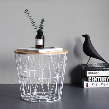 Nordic Ins Wind Minimalist Wrought Iron Side Table Small Coffee Table Small Round Table Bedside Table Corner Storage Basket