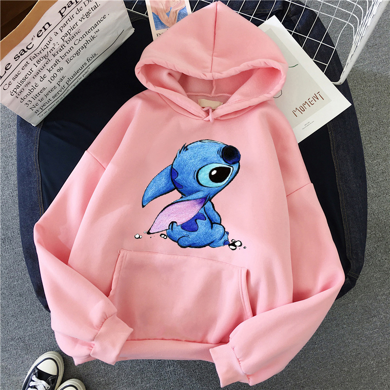 LILO Stitch Hoodies Women Harajuku Pullovers Cute Kawaii Casual Tops O-Neck Angel Print Hooded Sweatshirt Long Sleeves Plus Size