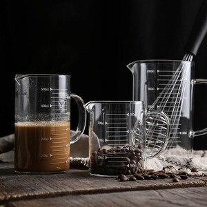 Пищевой стеклянный мерный стаканчик, прозрачный с крышкой, кружка для молока, термостойкая, высокая емкость, жидкий контейнер, кухонный инс...