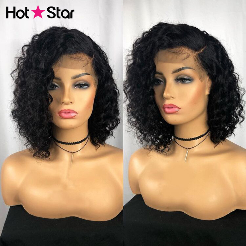 Deep Wave Lace Front Wig Brazilian Short Human Hair Bob wigs For Black Women Hot Star