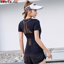 Summer Women Yoga Shirt Elastic Hollow Out Running Fitness Short Sleeve T-shirt Quick Dry Slim Sport Tee Tops Gym Workout Blouse jeansian men s sport tee shirt tshirt t shirt tops gym fitness running workout football short sleeve dry fit lsl131 gray