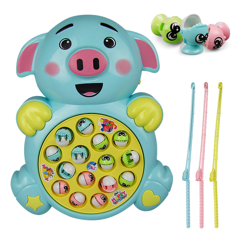 Electric Music Pig Fishing Game Cartoon Pig Modeling Fishing Toy Early Education Best Gift