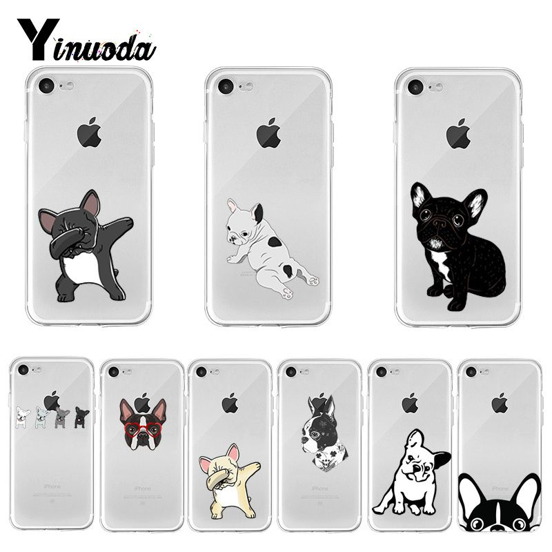 Yinuoda Cute Brindle Frenchie Puppy Colorful Cute Phone Accessories case for iPhone 8 7 6 6S Plus X XS MAX 5 5S SE XR 11 pro max image