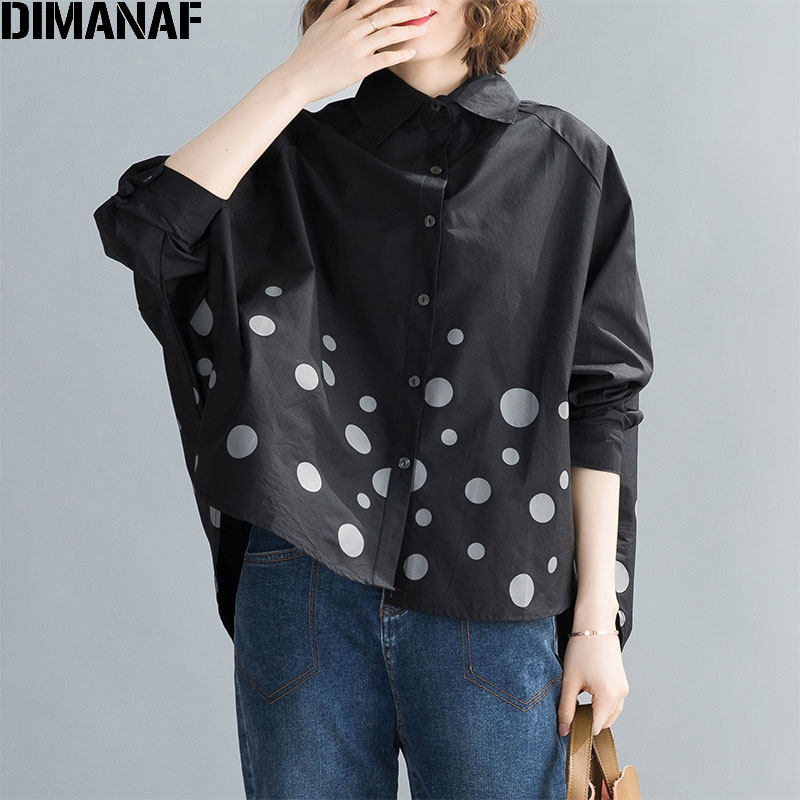 DIMANAF Plus Size Women Shirts Lady Tops Tunic Cotton Loose Casual Print Polka Dot Batwing Sleeve Cardigan 2020 Summer Clothing