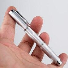 מונמן Creative שלושה חלקים מיני נירוסטה מזרקת עט מתכת כסף קצר דיו עט אירידיום בסדר ציפורן 0.5mm אופנה עט