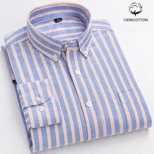 9xl 8xl 100% algodão oxford camisas dos homens longsleeve listrado negócio casual macio camisas de vestido social regular ajuste camisa masculina blusa