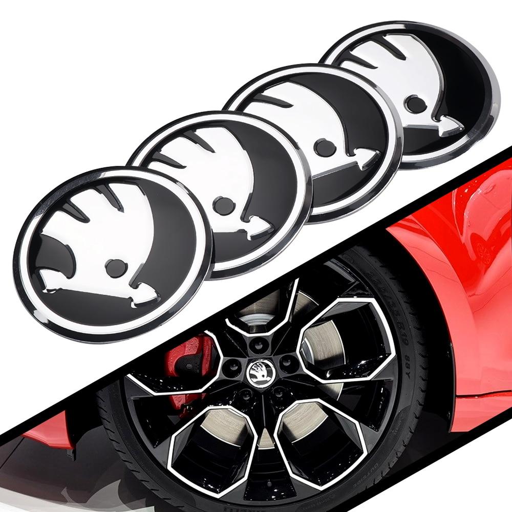4Pcs 56mm Car Wheel Centre Hub Sticker For Skoda Kodiaq Octavia Yeti Rapid Superb Fabia Karoq Decoration Emblem Auto Accessories