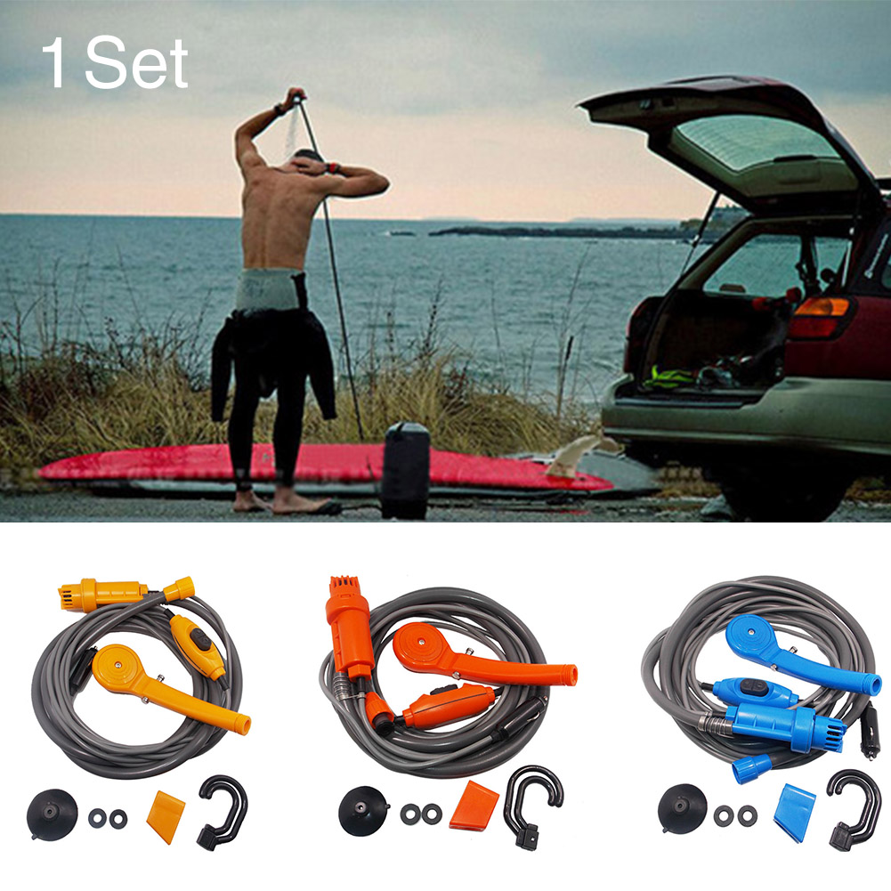 12V Outdoor Camping Shower Kit Vehicles Washer Water Spray Pump Easy Install Sprinkler Car Hiking Portable Travel Mini Universal