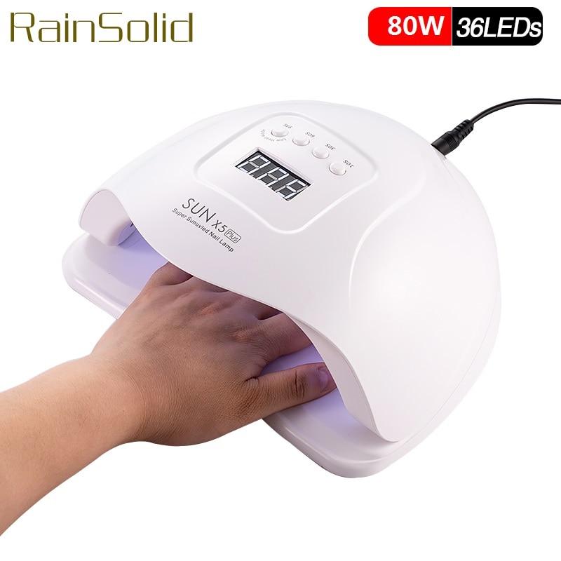 Brand 80W Nail Dryer SUNX5 Plus 36LEDs Dual UV LED Nail Lamp SUN Light For Curing UV Gel Nail Polish With Sensor LCD Display