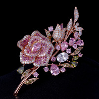 Exquisite inlay Pink Flowers Zircon Brooch Beautiful And Elegant Matching Brooch For Women