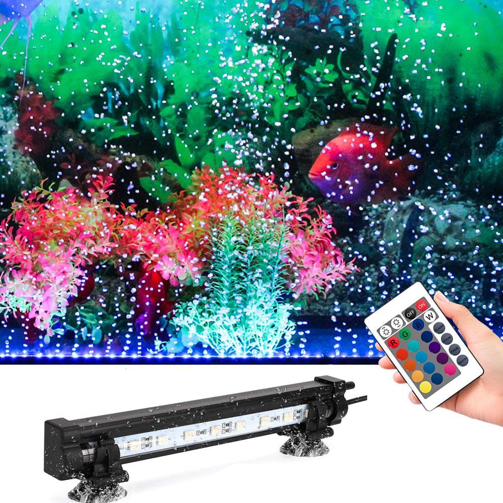 Aquarium Fish Tank Light Waterproof LED Aquatic Air 5050 RGB LED Submersible Lamp + Increase Oxygen Air Pump + IR Remote  EU/US Lightings    - AliExpress